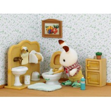 Sylvanian Families Chocolate Rabbit Brother and Washroom