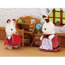 Sylvanian Families Chocolate Rabbit Sister and Desk Set