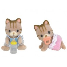 Sylvanian Families Sandy Striped Cat Twin Babies