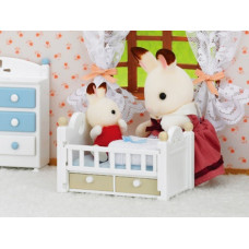 Sylvanian Families Chocolate Rabbit Baby and Bed Set