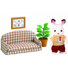 Sylvanian Families Chocolate Rabbit Father and Settee