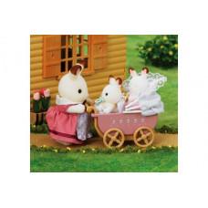 Sylvanian Families Chocolate Rabbit Twin Babies with Pram