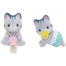 Sylvanian Families Harvey Gray Cat Twin Babies